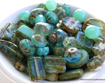 Picasso Czech Bead  Mix - Aqua Blue Green Czech Glass Bead Soup Mix  - Czech Glass Beads 30 grams from Mountain Shadow