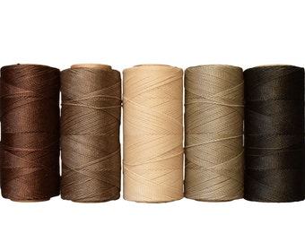 Waxed Cord Polyester - Macrame Cord - Linhasita Waxed Polyester - Set of 5 Colors - 10 meters each color