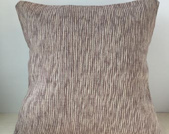Purple and White Stripe Fabric Pillow Cover