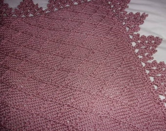 Hand knit baby blanket in diamond pattern with crocheted border -many colors- made to order