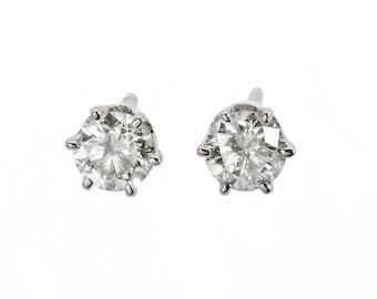 Gold Diamond Earrings-14K White Gold Earrings-Stud Earrings-Earrings for him-College graduation gift for her-Baby earring-Girls earrings