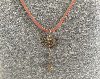 LEATHER NECKLACE with Pendants/Women's Leather Necklace/Jewelry