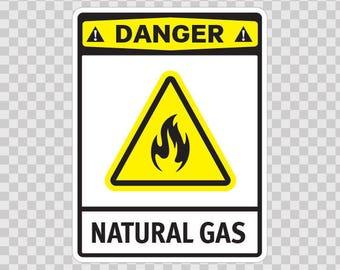 Decals Stickers Danger Natural Gas Bicycle Weatherproof 14227