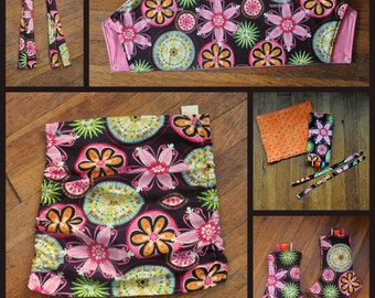 Carnival Bright Floral Tula Accessories - Ready to Ship - Hoodie hood, Straight Pads, and Topper