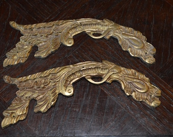 Antique Pair French Bronze Ormolu Onlay Trim Hardware Mount Repurpose