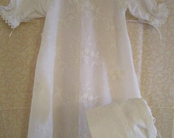 White Baby Day Gown and Bonnet Set