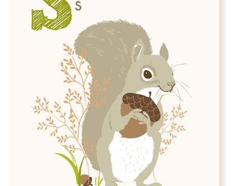 ABC card, S is for Squirrel, ABC wall art, alphabet flash cards, nursery wall decor for kids