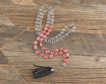 Cherry Quartz & Glass Crystal Hand Knotted Necklace