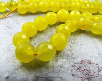 Lemon Meringue Dyed Faceted Jade Beads, round beads, yellow jade, gemstone, bright beads, Easter, Summer, jewelry making - reynaredsupplies