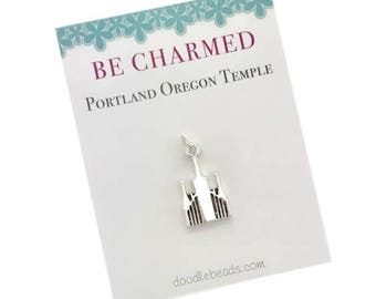 Portland Temple, LDS Temples, Portland Oregon Temple charms, LDS Wedding, Mormon temple charm bracelet, temple Necklace or temple keyring
