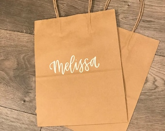 Personalized Hand Lettered Gift Bags | Favor Bags | Bridesmaid Gift Bags
