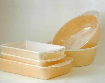 Peach Luster Baking Dish Set