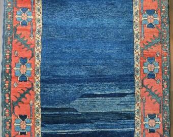 Vintage Heriz Style Turkish Rug // 4X6 // Denim Blue & Salmon // Hand Knotted Modern Oriental Rug // Free Shipping