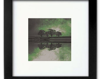 Small Framed Tree Photograph Art Print in Green
