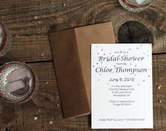 confetti polka dots bridal shower invitations- 10 bridal shower invites bachelorette wedding