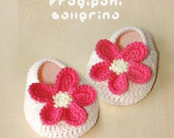 Crochet Pattern - Frangipani Baby Booties Frangipani Preemie Ballerina Newborn Socks Crochet Baby Slippers Frangipani Applique (FB01-P-PAT)