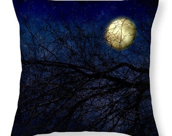 Art Throw Pillow Cover Blue Moon photography photo Pillow Covers available royal navy blue full moon stars gothic night sky