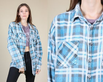 90s Faded Flannel Shirt - Mens XXL // Vintage Grunge Blue Plaid Button Up