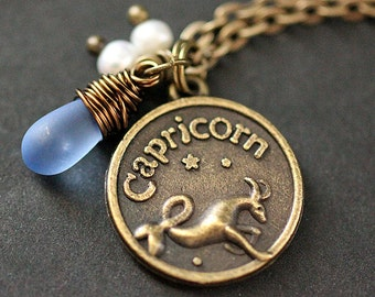 Capricorn Necklace. Zodiac Necklace. Sun Sign Charm Necklace with Glass Teardrop and Pearls. Handmade Jewelry.
