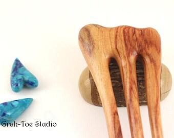 Tulip Wood Hair Fork, Hairforks, Hair Stick, Hairsticks, Grahtoe Studio, Gift for her, Threnody Original design, 3 prong fork, tulip wood