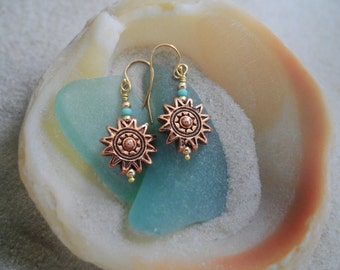 Sunburst Sunshine Earrings-beachwear-summer-sun-turquoise-nature-Native American
