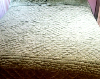BEDSPREAD ... Handsome Spruce Green Velvet King sz Bedspread 100 % Cotton w 2 Pillow shams 96 x 108""
