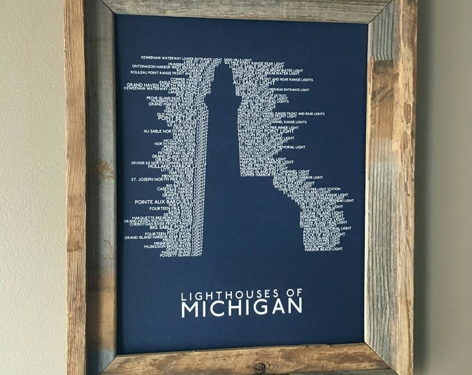 Michigan Lighthouses Word Art Print (Dark Blue) - Unframed