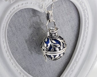 Harmony Cage BAILEY with Purple Bola Ball Pendant & Necklace - Pregnancy Maternity Mexican Angel Caller Mum to Be