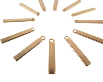 Small Rose Gold Plated Engraving Rectangle Stick Charms - with bail (12X) (M541-D)