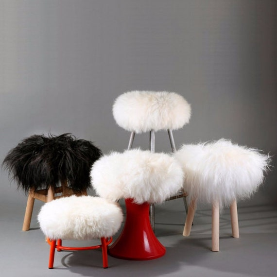 Sheepskin Stool Covers! Round / Square / Rectangle. Natural Sheepskin Chair Pads. Christmas Gift. Genuine Sheepskin Stool Covers. Gift Idea.