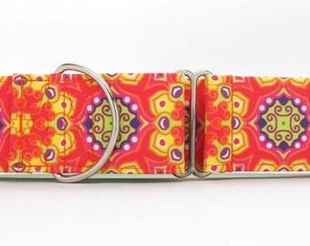 Tequila Sunrise Mandala CANVAS Dog Collar (Martingale, Buckle or Tag)