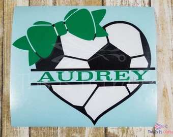 Soccer Decal - Personalized Soccer Decal - Soccer Sticker - Soccer Heart Decal - Soccer Ball Decal - Sports Decal - Vinyl Decal - Car Decal