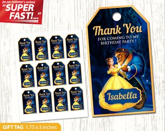 Beauty and the Beast THANK YOU TAGS, Beauty and the Beast Favor Tag Digital, Beauty and the Beast Gift Tags Printable, Party Tag, v1