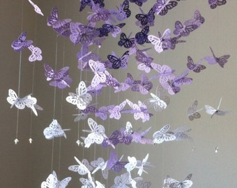 Monarch Butterfly Chandelier  Mobile, 3D butterfly mobile- purple version II