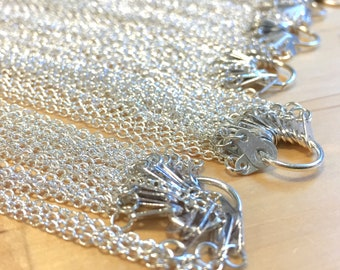Chain CABLE.  Spring clean SALE lot of silver 9 inch cable chain with tab enders
