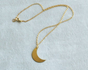 Brass Moon Necklace, Crescent Moon Necklace, Moon Jewelry, Bohemian Layering Necklace