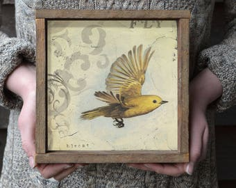 What if you Fly, Bird Art, Art Print, Inspirational Gift, Farmhouse Wall Decor, Flying Bird, Yellow Bird, Square Art, Flight, Gift for Her
