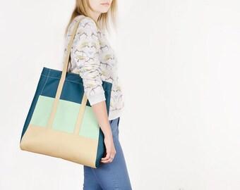 Vegan leather tote Boho tote bag Teal shoulder bag Vegan bag Shopper Faux leather tote Large bag Mint handbag Shopping bag Colorful purse