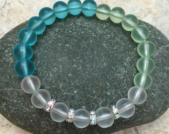 "Ocean Blue and Green Frosted ""Sea Glass"" Swarovski Stretch Bracelet"