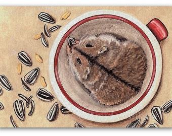 Sunflower Seeds Hamster Pet Painting - Art Prints by Bihrle ta1