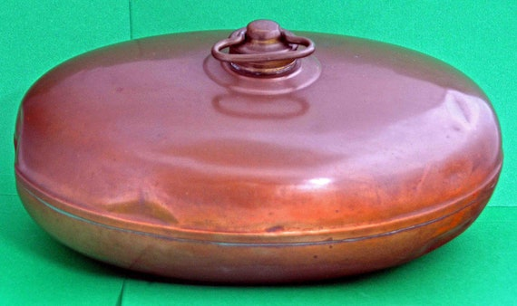 """Antique C 1874 COPPER BED/FOOT Warmer with Original Brass Screw Top About 11"""" x 7"""" x 4"""" Very Good Vintage Condition"""
