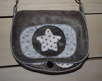 Gray Messenger bag white and blue