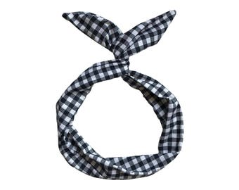 Black and White Gingham Wire Headband- Twist Scarf, Top Knot Headband, Boho Turban Headband, Head Wrap, Hair Turban, rockabilly, Bun Wrap