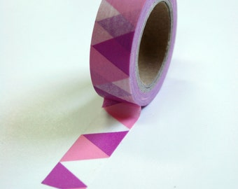 Washi Tape - 15mm - Magenta and Pink Triangle Bunting - Deco Paper Tape no. 600