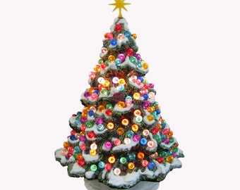 ceramic christmas tree shenandoah pine with snow 10 inch tall with round jewel color globe lights - Christmas Tree Pictures To Color
