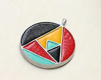 Geometric Pendant, Cameo Pendant, Round Pendant, Large Pendant, Enamel Pendant, Resin Pendant