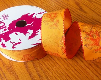 Falling Leaves 1 1/2 Inch Wire Edge Ribbon