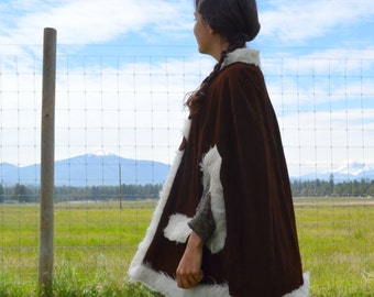 Vintage 60s/70s Brown Leather Poncho Cape with White Faux Fur Trim