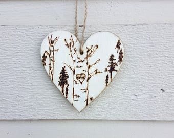 LOVE heart shaped Birch Woodburned gift tag, pyrography keepsake for Valentines or holiday ornament, forest of pine trees, hangs with twine