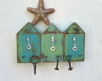 Beach Hut Key Jewelry Hook Rack Turquoise Blue White Lake House Coastal Art Decor by CastawaysHall Choose Your Colour -  READY To SHIP